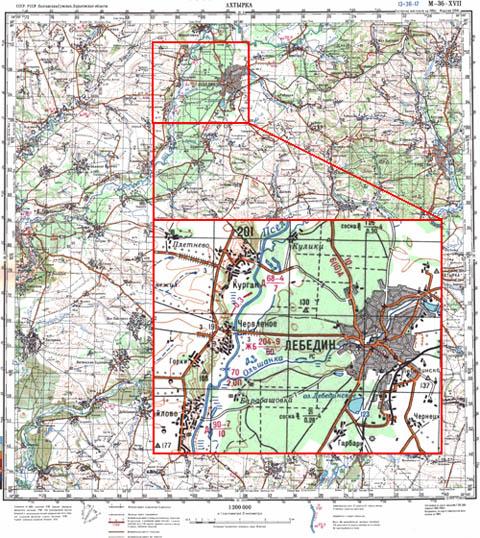 Рисунок 1. Аркуш топографічної карти масштабу 1 200 000 28702d9aa0411