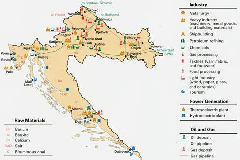 Різноманітні умовні знаки відображають розташування основних виробництв на  економічній карті Хорватії (зображення з сайту www.mappery.com) 84234692771f6